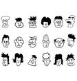 doodle crowd face icons vector image