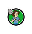 Farmer Shovel Shoulder Circle Cartoon vector image vector image