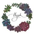 floral wreath colored succulent echeveria vector image