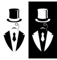 gentleman in tuxedo and vintage hat vector image vector image