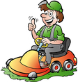 Hand-drawn of an happy Gardener riding his l vector image