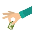 hand holding dollar with green sleeve vector image