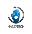 hand technology logo concept design circle arrow vector image vector image