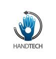 hand technology logo concept design circle arrow vector image