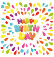 happy birthday festive banner cartoon letters and vector image vector image