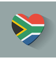 Heart-shaped icon with flag of South Africa vector image vector image