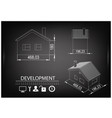 house drawing on a black background vector image vector image