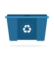 huge blue waste trash can flat isolated vector image vector image