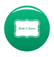 just married label icon green vector image