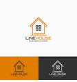 line house - wooden home craftsmen logo template vector image