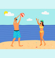 man and woman in swimsuits playing inflatable ball vector image vector image