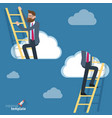 man climbing through clouds in sky vector image vector image
