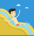 man riding down waterslide vector image vector image