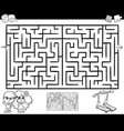 maze or labyrinth activity for coloring vector image vector image