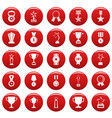 medal award icon set vetor red vector image