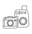 photographic cameras icon black and white vector image vector image