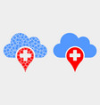 pixelated and flat medical cloud icon vector image vector image