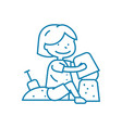 playing in the sandbox linear icon concept vector image vector image