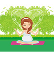 Pregnant woman relax doing yoga vector image