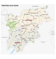 road map italian region trentino alto adige vector image vector image
