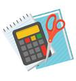 school supplies for study calculator and scissors vector image vector image
