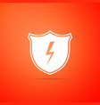 secure shield with lightning icon isolated vector image vector image