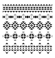 Set of seamless borders in the aztec style vector image