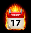 Seventeenth february in calendar burning icon on
