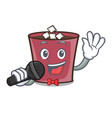 singing hot chocolate mascot cartoon vector image vector image