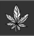 single cannabis leaf hand drawn sketch artwork vector image