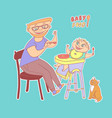 sticker father with glasses and beard feeds baby vector image