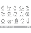 Stylized outlines of fruit icons vector image