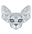 Tattoo head sphinx cat with floral ornaments