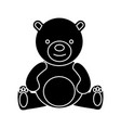 teddy bear - toy icon black vector image vector image