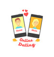 two smartphones with man and woman characters vector image vector image