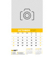 wall calendar planner template for october 2020 vector image