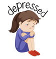 young girl depressed white background vector image vector image