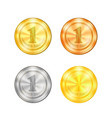 set of colored sport medals vector image