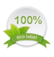 eco label green leaves ribbon vector image
