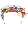 Kids behind the banner vector image