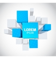 Abstract background with 3d gray and blue cubes vector image