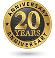 20 years anniversary gold label vector image vector image