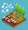 agricultural isometric composition vector image vector image