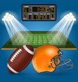 american football field with scoreboard vector image vector image