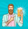beer festival pop art banner template vector image