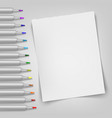 blank sheet with markers template for your vector image