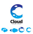 c letter based cloud symbol vector image