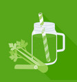 celery juice in mason jar with celery vector image vector image