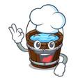 chef wooden bucket character cartoon vector image vector image