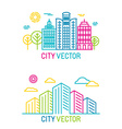 city and architecture logos in trendy bright vector image vector image